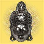 Maszk Buddha ezüst 40 cm