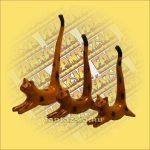 Macska ugró gyűrűtartó fa 22cm