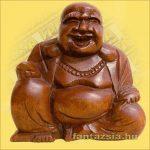 Szerencsehozó Buddha figura 10cm-Trópusi fa