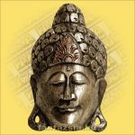 Buddha maszk ezüst színű 30cm