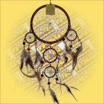 Álomőrző,Álomcsapda,Álomfogó tükrös barna 17cm