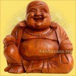 Szerencsehozó Buddha figura 20cm -Trópusi fa