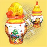 Festett Tároló Wayang festéssel/Csúcsos fedéllel/Indonéz