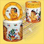 Festett Tároló Wayang festéssel/Henger alakú/Indonéz