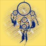 Álomőrző,Álomcsapda,Álomfogó tükrös sötétkék 11cm