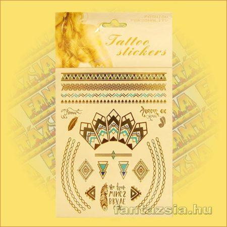 Aranytetoválás/fényes fémtetoválás egyiptomi mintával