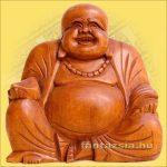 Szerencsehozó Buddha figura 15cm -Trópusi fa