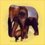 Elefánt és kis elefánt faragott hátú