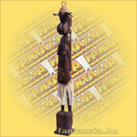 Primitív törzsi faragvány/Asmat figura kalapos