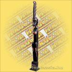 Primitív törzsi faragvány/Asmat Janggar figura lány fekete