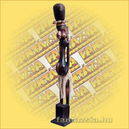 Primitív törzsi faragvány/Asmat figura kalapos lány