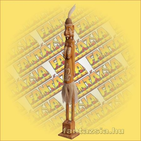 Primitív törzsi faragvány/Asmat figura barna lány