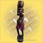 Primitív törzsi faragvány/Asmat figura tállal a fején