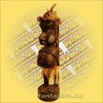 Primitív törzsi faragvány/Asmat figura álló sapkás