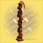 Primitív törzsi faragvány/Asmat figura dupla