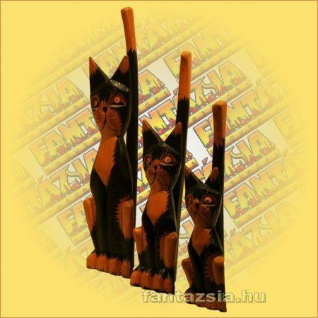 Macska figura fából 25cm D