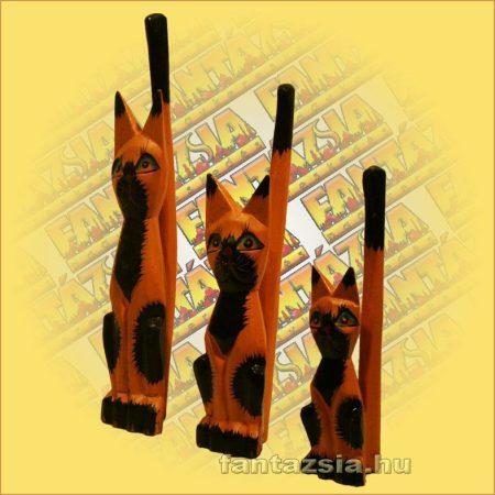Macska figura fából 25cm F