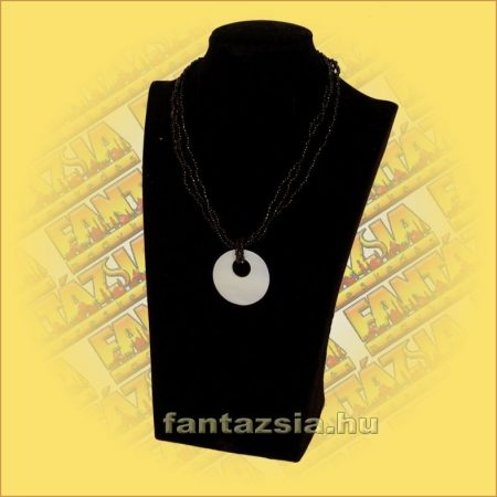 Gyöngylánc fekete/kagyló medállal