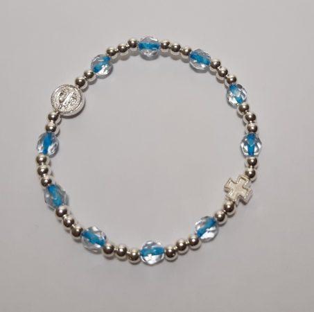 Szent Benedek Karkötő-csiszolt kristály-Kék színű