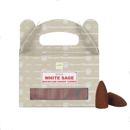 Satya Backflow-White Sage-Fehér Zsálya-Kúpfüstölő