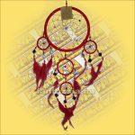 Álomfogó,Álomőrző,Álomcsapda tükrös piros 17cm