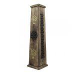 Füstölőtartó Torony Áttört Yin-Yang Díszítéssel, Négyzet Alakú