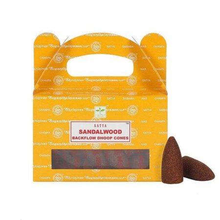 Satya Backflow-Sandalwood-Szantálfa-Kúpfüstölő