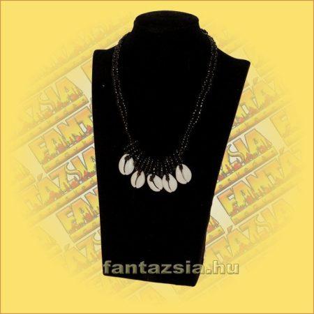 Kagylós nyaklánc gyöngyszálon fekete