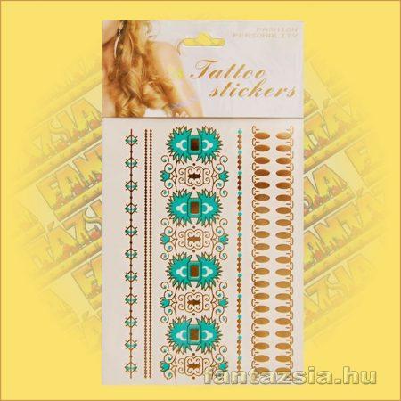 Aranytetoválás,fényes fémtetoválás Türkiz karkötő mintával