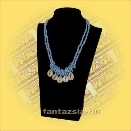 Kagylós nyaklánc gyöngyszálon kék