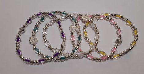 Szent Benedek Karkötő-csiszolt kristály-Vegyes  színű