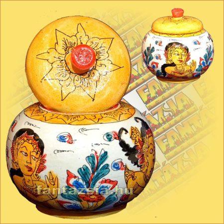Festett Tároló Wayang festéssel/Gömb alakú/Indonéz