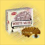 Fehér Pézsma Illatú Kúpfüstölő / HEM White Musk