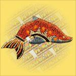 Delfin Hűtőmágnes /Aboriginal Festéssel