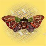 Trópusi Lepke Hűtőmágnes/Aboriginal Festéssel